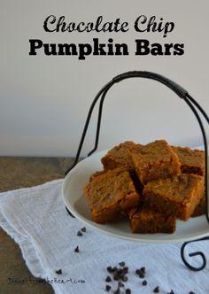 Chocolate Chip Pumpkin Bars   Celebrate Fall at www.dinnerfromtheheart.com #pumpkin #fall
