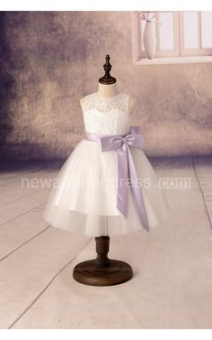Sleeveless High Neck A-line Tulle Dresses With Lace Top and Satin Sash