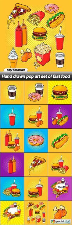 Hand drawn pop art set of fast food - 18 EPS