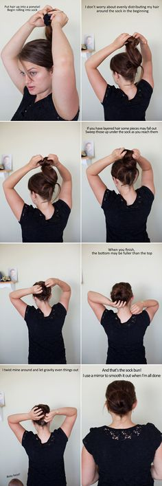 The sock bun.  It's so easy to do.  And it's a great day to night look.  When you take it out, the result is bouncy, natural looking curls with no heat necessary.