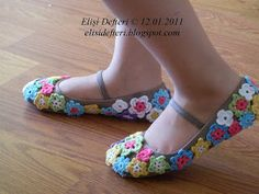 Crochet Flower Covered Ballet Shoes ~ Inspiration only, no pattern