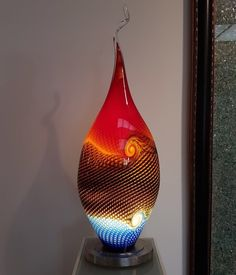 """Lightobject """"SAROMI""""   When fire meets water. Dragonfly Art, Light Art, Glass Art, Fire, Lighting, Water, Design, Home Decor, Gripe Water"""