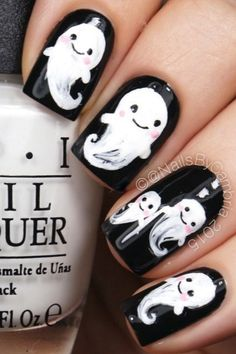 ghost halloween nail art designs nails These Creepy, Kooky Nail Art Ideas Are Only for the Halloween-Obsessed Nail Polish Designs, Cute Nail Designs, Acrylic Nail Designs, Nails Design, Holloween Nails, Cute Halloween Nails, Easy Halloween, Pretty Halloween, Cute Nails