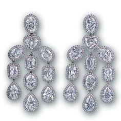 Jacob &Co Art Deco Diamond Chandelier Earrings