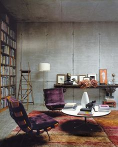 concrete walls, purple chairs, tons of books - what more to want!