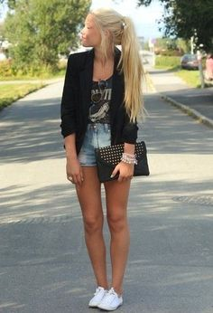 37 Fashionable Combinations With Shorts not a blazer kinda girl, but I like the idea of the layers. Super cute