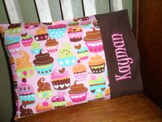 Yummy Cupcake Personalized Travel Pillow Pillowcase by BabyPaige, $16.99