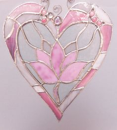 Lovely Pink Heart With A Flower In The Middle. on Etsy, $77.00