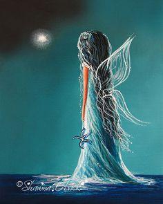 Aquamarine Fairy FINE ART PRINT beautifully by shawnaerback, $10.00