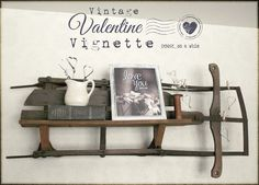 cool way to use a vintage sled as wall shelf - horizontal Vintage Sled, Vintage Christmas, Vintage Decor, Porch Decorating, Decorating Your Home, Easter Crafts For Kids, Shabby Chic Cottage, Vintage Valentines, Vintage Postcards