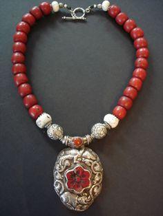 Tibetan Coral & Silver PendantNecklace