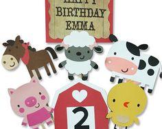 Corral granja nombre fiesta de cumpleaños por JenCowanCrafts