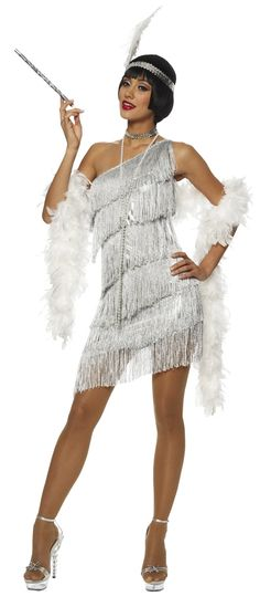Dazzling Silver Flapper Adult Costume | Totally Costumes