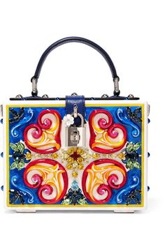 c0232045ff DOLCE  amp  GABBANA Dolce embellished leather-trimmed painted wood clutch.   dolcegabbana