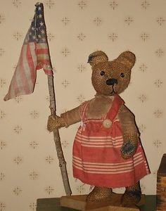 Libby primitive burlap teddy bear ready for adoption on eBay