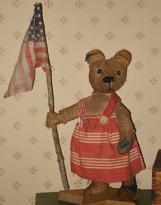 Libby primitive burlap teddy bear