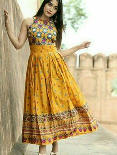 Attractive Mustard Color Long Printed Kurti (Mustard)