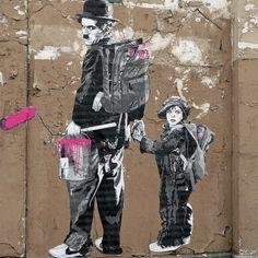 Charlie Chaplin and the Kid, Street Art, Graffiti Art, Mr. 3d Street Art, Urban Street Art, Murals Street Art, Amazing Street Art, Mural Art, Street Artists, Amazing Art, Arte Banksy, Banksy Art