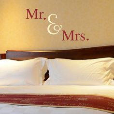 Mr & Mrs Wall Decal Mr. and Mrs. Mr and Mrs Heart Decal Mr and Mrs Wall Decor Mr and Mrs Wall Art Above the Bed Wall Art Wedding Gift