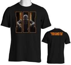 Call Of Duty Black Ops 3 T-Shirt with Custom Gamer Tag on the back!