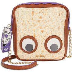 Betsey Johnson Googly Eye Peanut Butter Jelly Crossbody ($78) ❤ liked on Polyvore featuring bags, handbags, shoulder bags, multi, betsey johnson, betsey johnson crossbody, cross body, crossbody handbag and shoulder bag purse