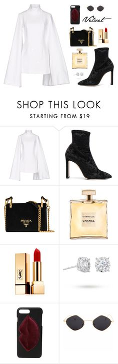 """Velvet"" by therikkiblue ❤ liked on Polyvore featuring Jacquemus, Jimmy Choo, Prada, Yves Saint Laurent, Masquerade, Kendall + Kylie and velvet"