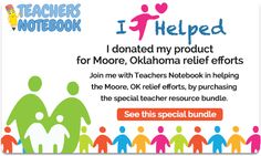 Wow!.....Help the tornado victims: Teachers Notebook has gathered over $1000 worth of teaching resources from their sellers and you can purchase it for only $20 this week. 100% of the proceeds will go toward the relief effort. Please repin this even if you don't plan on buying- we want to reach as many of our colleagues as we can! Thanks!