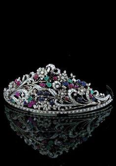 Art Deco Tiara. Diamonds, Emeralds, Sapphires and Rubies