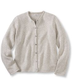 Purchased at the LLBean store....love it!!  Marled 100%cotton cardigan, falls at hip, slightly fitted, $45, med
