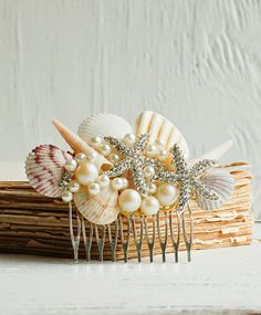 Bridal HAIR COMB with Sea Shells & Rhinestone Starfish