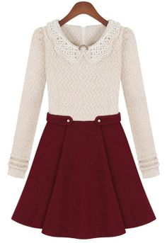 Beige Long Sleeve Contrast Wine Red Bead Dress JPY¥3115