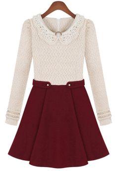 Beige Long Sleeve Contrast Wine Red Bead Dress - Sheinside.com