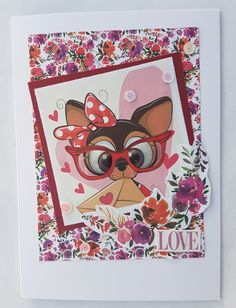 Flowery cuties – Inky fingered Cat Cute Little Dogs, Making Cards, Free Paper, Cute Cards, Vibrant, Colours, Cats, Floral, Cardmaking