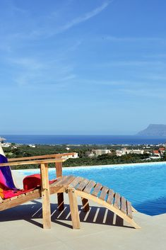 Relaxing spots with lovely #sea views! Check our Villas & Apartments in Crete and choose your favorite! Villa Aloni in the village of Agios Georgios, near Kissamos, Chania! #crete #chania #sunlounger #sun #view #travel #holidays #vacations