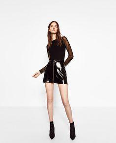 Image 1 of MINI PATENT FINISH SKIRT from Zara
