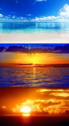 Sea, ocean, dal, horizon, sky, clouds, dawn, sunset