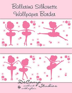 Pink Ballerina Silhouette wallpaper border wall decals for baby girl ballet nursery or children's dance room decor #decampstudios
