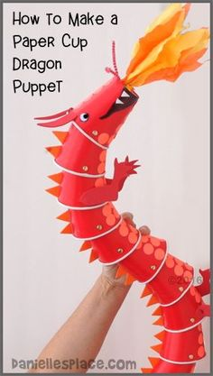 "Dragon Paper Cup Puppet Craft with ""View it and Do it"" Step by Step Video from www.daniellesplace.com 2016"