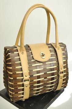 Vintage 1950s Rockabilly Bamboo Wicker Handbag Vintage 50s Rockabilly Brown bamboo wicker woven basket handbag