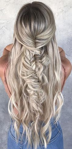 favorite wedding hairstyles for long hair silver twisted half-up half down hairby chrissy