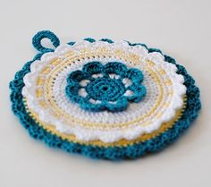 Handmade Crochet Potholder in Turquoise and White by twoknit, $25.00