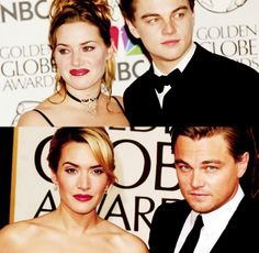 Crazy comparison.  Both SO much better looking now!   Golden Globes 1998 - Golden Globes 2009 Kate Winslet and Leonardo DiCaprio