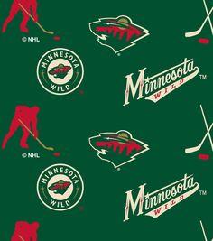 Minnesota Wild Fleece Fabric Tossed