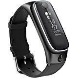 M6 Smart Watch Armband, Mini Band mit Wireless Bluetooth Kopfhörer Fitness Activity Tracker Armbanduhr Herzfrequenz Monitor Armband Combo Wasserdicht Wristband für Android IOS