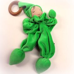@thepineconegnome  #Etsy  velour Waldorf doll with wooden teething ring