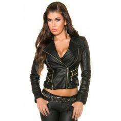 Dames biker jas lederlook met ritsen zwart