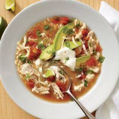 Mexican Chicken-and-Rice Soup- this is the best soup! So easy! Spend some time prepping and you have soup available to make anytime. Chicken Lime Soup, Mexican Chicken And Rice, Chicken Rice, Mexican Zucchini, Mexican Shrimp, Mexican Cheese, Chicken Tacos, Mexican Food Recipes, Soup Recipes
