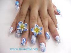 Wowwwww my favorite nail art bluewhite very cute
