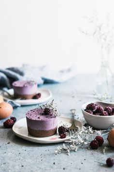 Speckled Brownie Bottomed Blackberry Mousse Cakes - The Kitchen McCabe @kayleyq