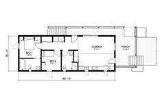 Cottage Style House Plan - 2 Beds 2 Baths 891 Sq/Ft Plan #497-23 Floor Plan - Main Floor Plan - Houseplans.com